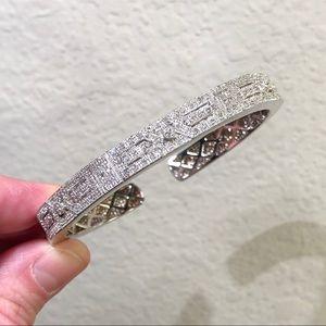 Jewelry - Sterling Silver Diamond Openwork Art Deco Cuff